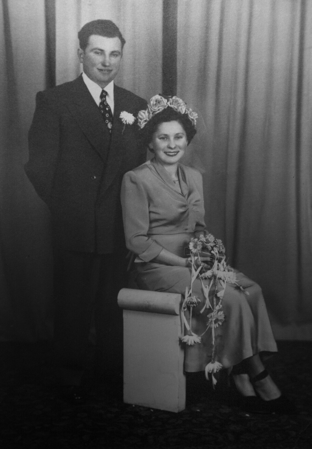 A photo of Hakman and his first wife, Esther, on their wedding day on Dec. 31, 1949, hangs in Hakman's Beverly Hills home.