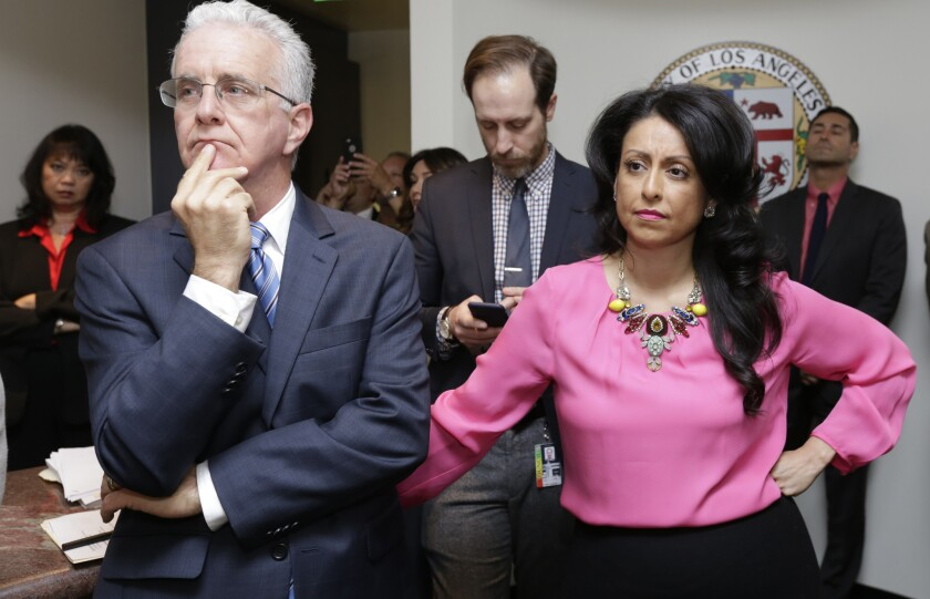 Los Angeles City Council members Paul Krekorian and Nury Martinez attend Thursday's news conference.