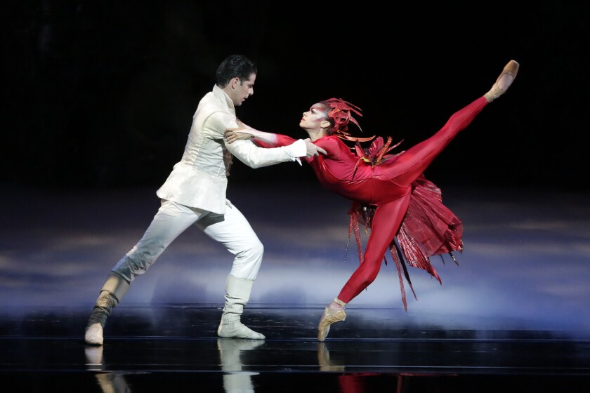 "American Ballet Theatre dancers Marcelo Gomes and Misty Copeland dance ""Firebird"" at the Dorothy Chandler Pavilion."