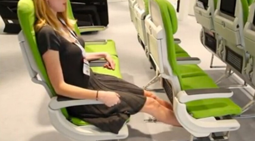 Slim-line seats, such as these seats made by Recaro Aircraft Seating, are lighter and take up less space on a plane.