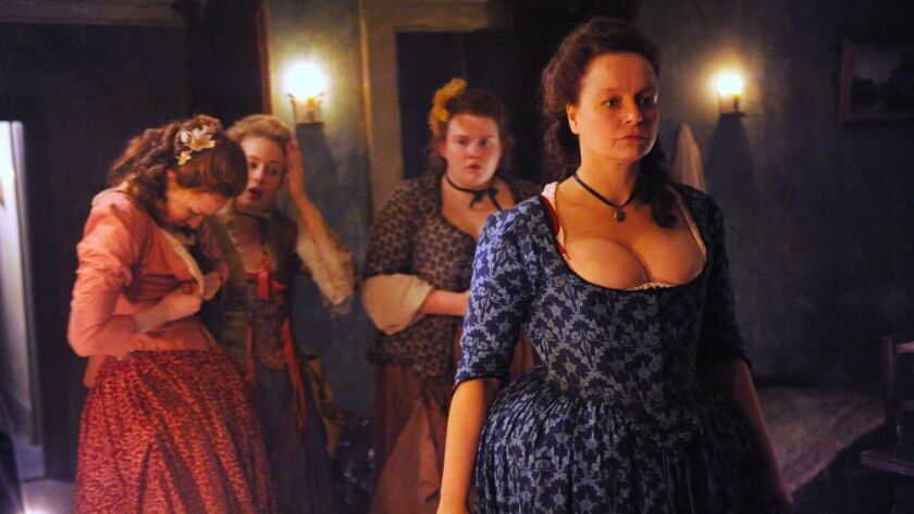 "Samantha Morton, right, plays a brothel owner in 18th century London in the new Hulu series ""Harlots."""