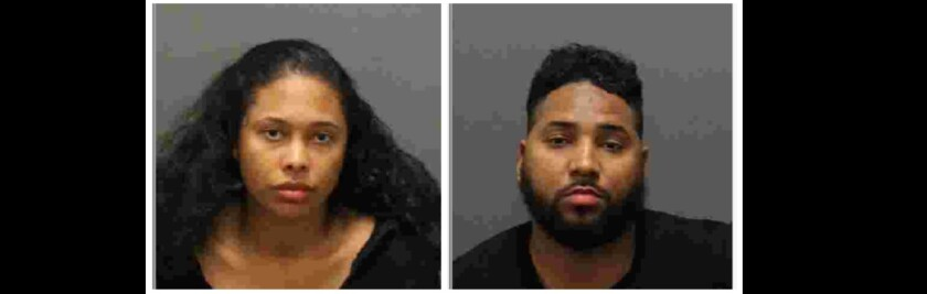 Darmia Morris, 28, and Jacorey Sims, 31, were arrested on suspicion of fraudulently using a credit card at the Montage resort in Laguna Beach.