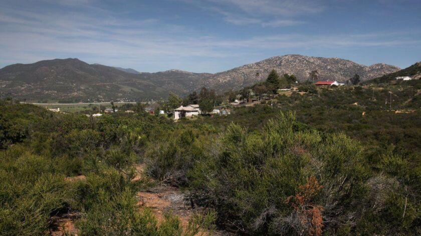 Farlin Road, at the east end of Alpine, houses dot the hillsides, surrounded by Cleveland National Forest. Across the I-8 freeway to the north is the spread of tribal development around the Viejas Casino.