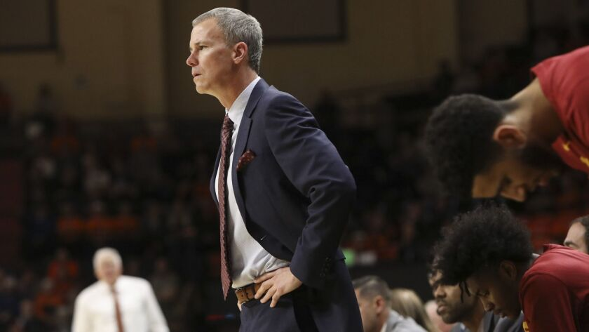 Southern California's head coach Andy Enfield reacts to a call during the first half of an NCAA coll