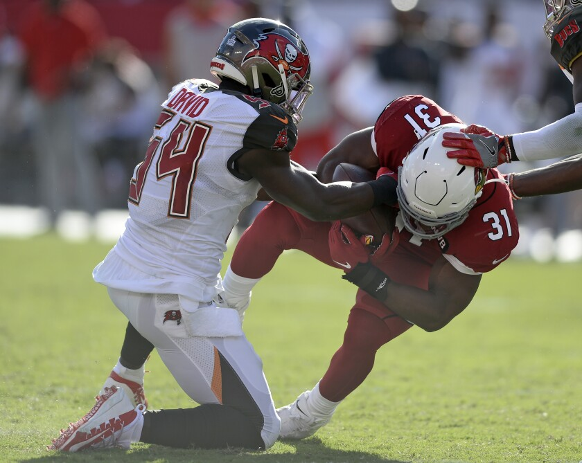 Tampa Bay Buccaneers outside linebacker Lavonte David (54) strips the ball from Arizona Cardinals running back David Johnson (31) for a fumble during the second half of an NFL football game Sunday, Nov. 10, 2019, in Tampa, Fla. Tampa Bay recovered the fumble. (AP Photo/Jason Behnken)