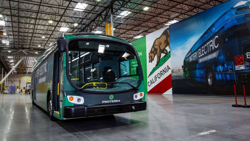 The first Proterra electric bus built at the new plant in City of Industry.