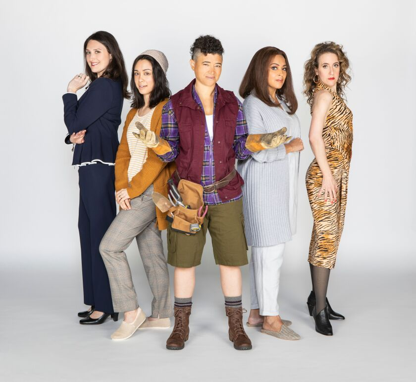 """Liz Wisan, Jennifer Paredes, Rami Margron, Opal Alladin and Jenn Harris (from left) star in the Old Globe Theatre's West Coast premiere of """"Hurricane Diane."""""""