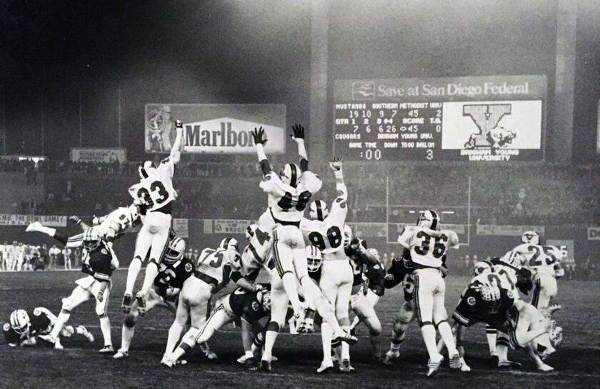 BYU kicker Kurt Gunther caps Cougars' 1980 comeback with game-winning extra point in 46-45 Holiday Bowl victory over SMU.