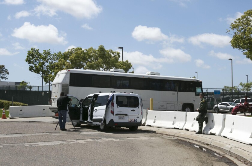 Three buses carrying migrant families that were apprehended in the Rio Grande Valley on the southwest border in Texas pulled in to the Brown Field station of the US Border Patrol in San Diego Ca. on Friday May 17, 2019 after arriving by plane to San Diego International airport via charter flight.