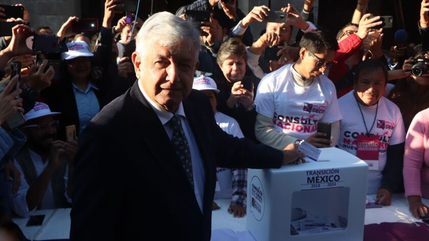 Lopez Obrador calls citizens to vote without fear in airport consultation, Mexico City - 25 Oct 2018
