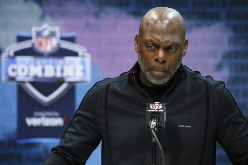 Chargers head coach Anthony Lynn speaks at the NFL Scouting Combine in Indianapolis, Tuesday, Feb. 25, 2020.