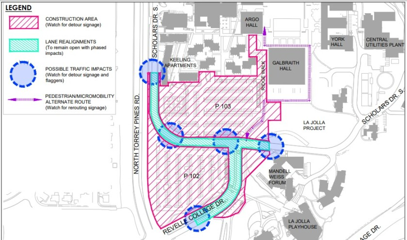 A map shows areas to be affected during construction of the UC San Diego Theatre District Living and Learning Neighborhood.