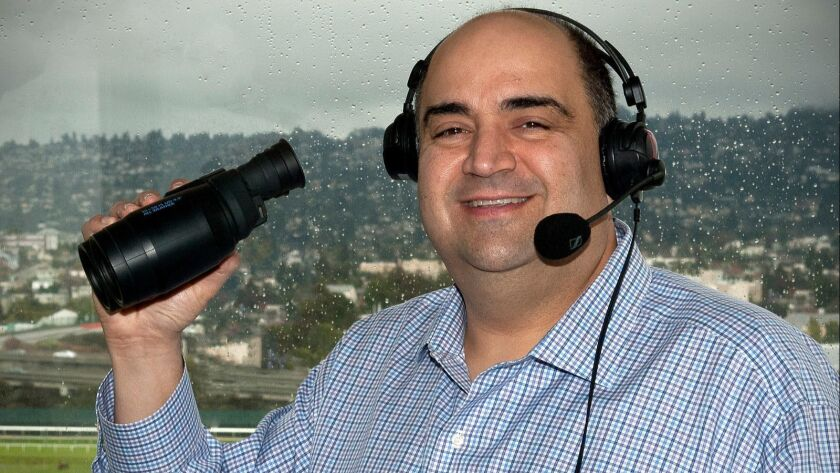 Frank Mirahmadi, a larger-than-life personality in horse racing, has been named the new race caller at Santa Anita.