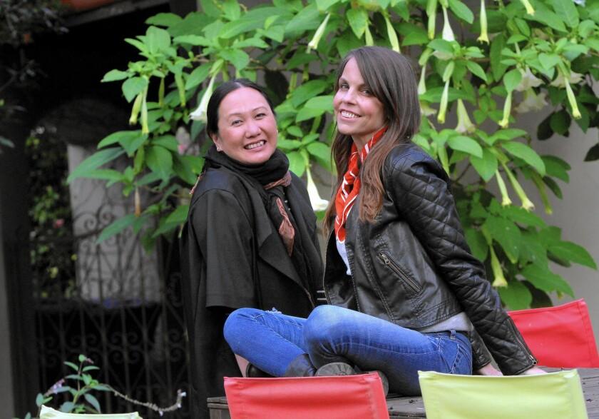 Authors Melissa de la Cruz, left, and Margaret Stohl at Stohl's Santa Monica home.