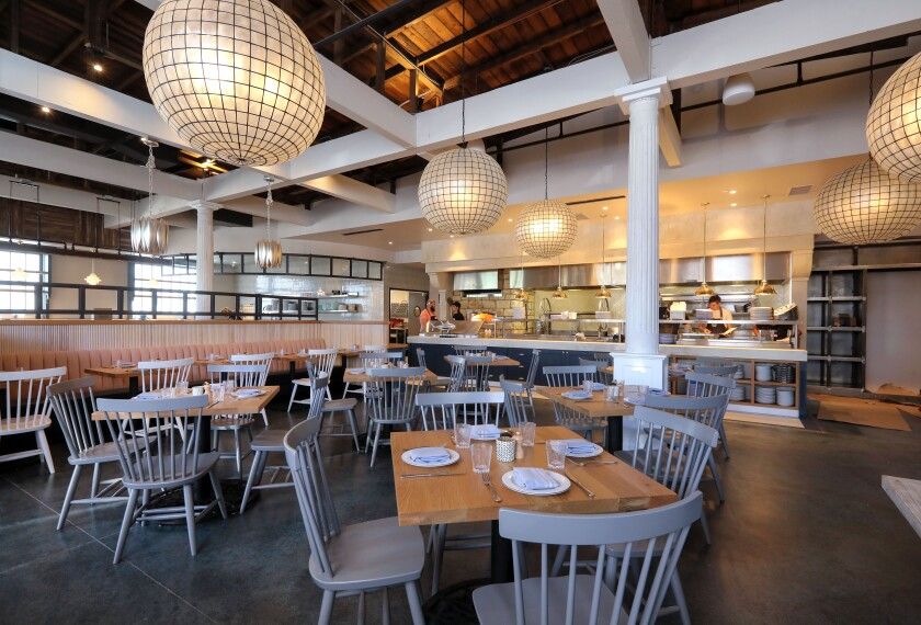 Interior view of one of the dining areas of the new Herb & Sea restaurant in Encinitas.