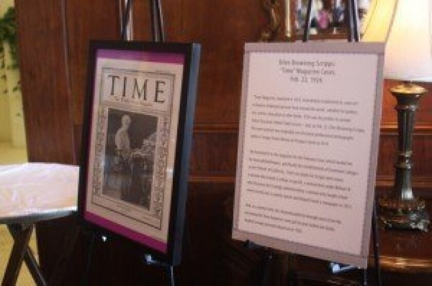 A 1926 issue of TIME Magazine with Ellen Browning Scripps on the cover is on display.