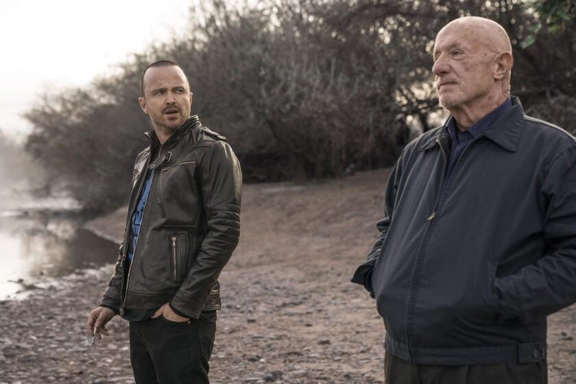 "Aaron Paul, Jonathan Banks in ""El Camino: A Breaking Bad Movie""."