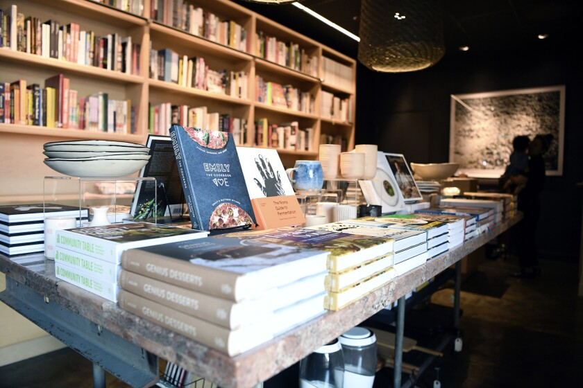 Books on display at a cookbook store