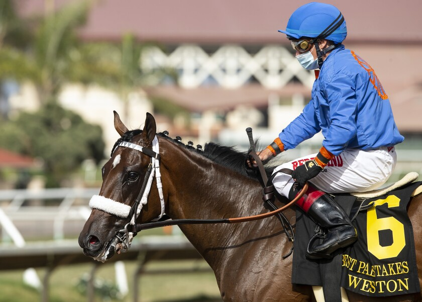 Drayden Van Dyke guides Weston to the winner's circle after their victory in the Grade II, $150,000 Best Pal Stakes.