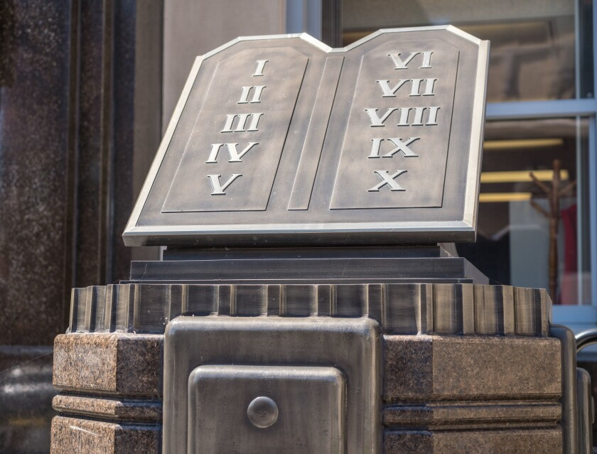 A display of the Ten Commandments outside a court house in Clarksburg, W.Va.