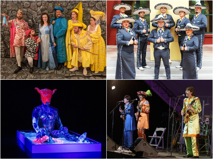 Photo collage with a group of opera singers, a mariachi band, a man in a lit-up suit and a Beatles tribute band