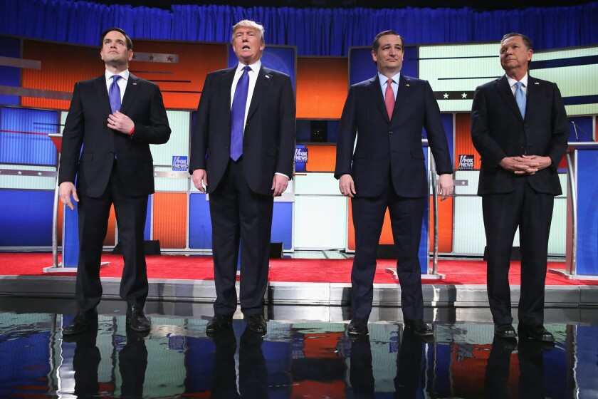 Republican presidential candidates Sen. Marco Rubio, Donald Trump, Sen. Ted Cruz, and Ohio Gov. John Kasich, participates in a debate sponsored by Fox News in Detroit, Michigan.
