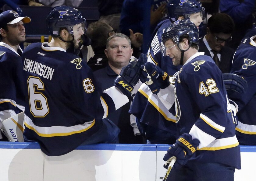 St. Louis Blues' David Backes, right, is congratulated by teammate Joel Edmundson after scoring during the first period of an NHL hockey game against the Minnesota Wild, Saturday, Oct. 31, 2015, in St. Louis. (AP Photo/Jeff Roberson)