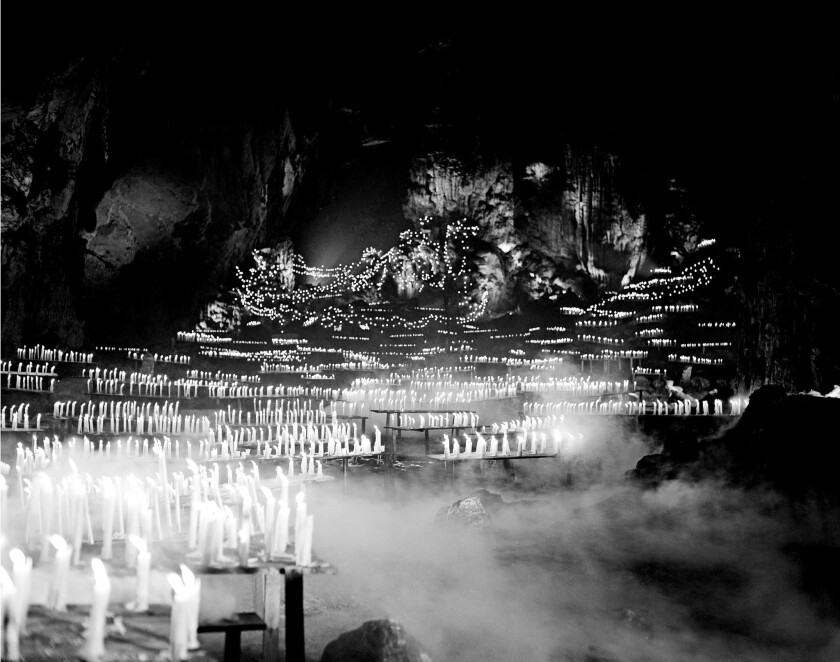 """The dramatically lighted caves of Cacahuamilpa in the film """"Macario"""" are an example of the craftsmanship of Mexican cinematographer Gabriel Figueroa."""
