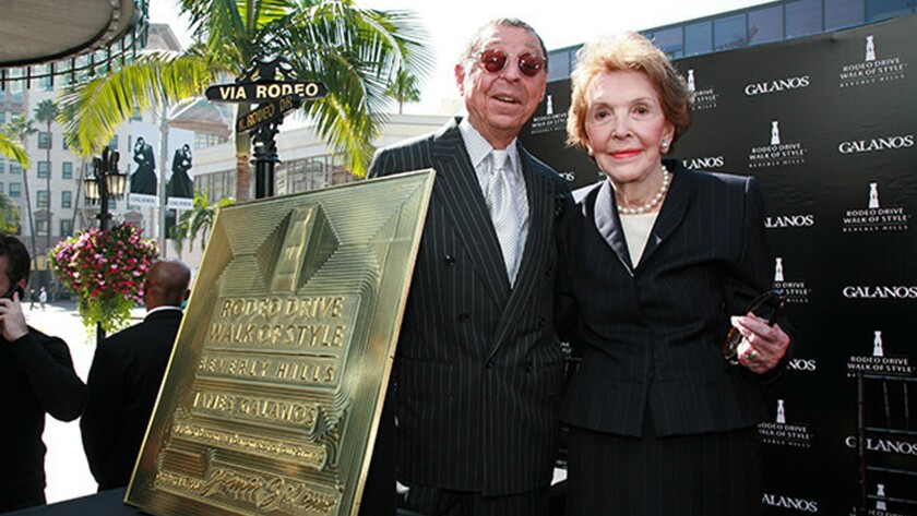 In 2007, James Galanos, left, and Nancy Reagan made an appearance on Rodeo Drive in Beverly Hills when Galanos became the 11th recipient of the Rodeo Drive Walk of Style Award. Reagan died on March 6 of this year at age 94.