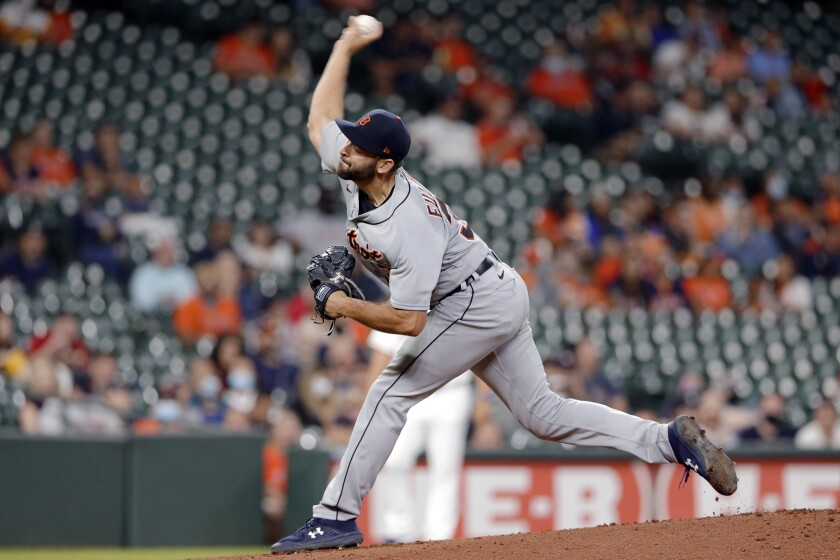 Detroit Tigers starting pitcher Michael Fulmer throws against the Houston Astros during the first inning of a baseball game Wednesday, April 14, 2021, in Houston. (AP Photo/Michael Wyke)