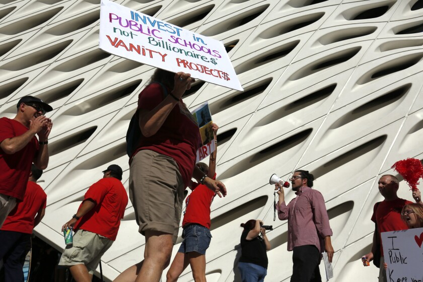 The United Teachers Los Angeles union staged a demonstration Sunday at the public opening of the Broad, Los Angeles' new contemporary art museum, protesting billionaire philanthropist Eli Broad's strong support for charter schools.