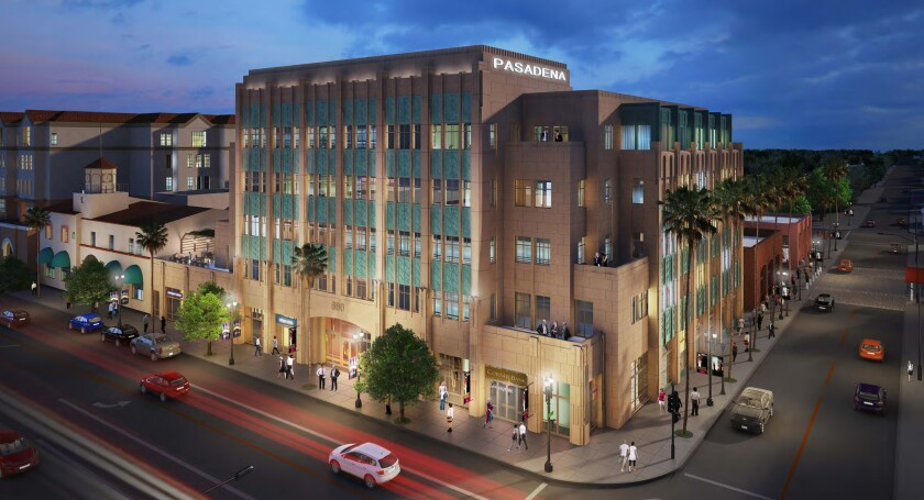 The $75-million Playhouse Plaza office building is under construction at the southeast corner of Colorado Boulevard and El Molino Avenue in the Playhouse district of Pasadena.