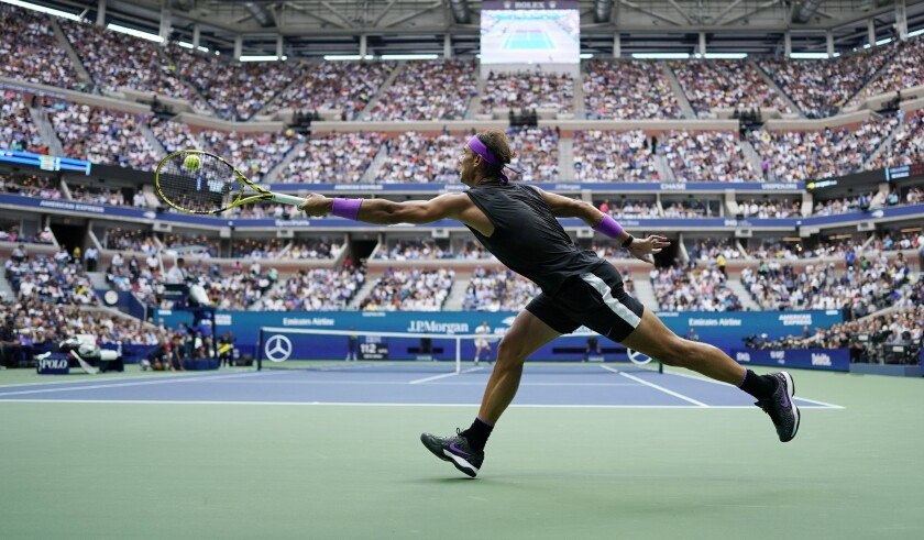 Rafael Nadal returns a shot to Daniil Medvedev during the men's singles final at the 2019 U.S. Open in New York.