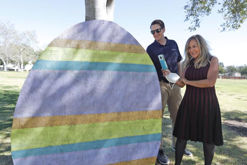 Realtor Ryan Knapp, and Torelli Realty founder Valeri Torelli, from left, at a Costa Mesa park.