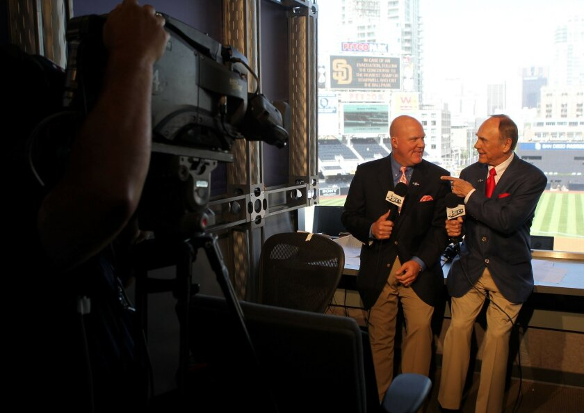 Mark Grant (left) will work alongside Dick Enberg again in 2012. Photo Sean M. Haffey /San Diego Union-Tribune.