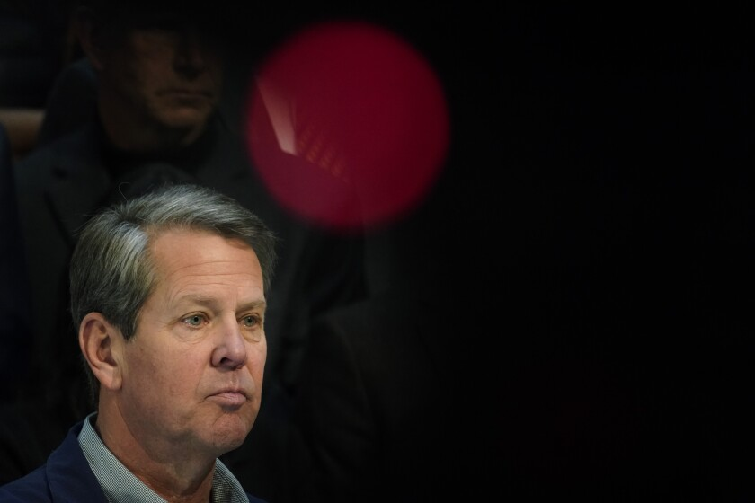 Georgia Gov. Brian Kemp speaks during a news conference at the State Capitol on Saturday, April 3, 2021, in Atlanta, about Major League Baseball's decision to pull the 2021 All-Star Game from Atlanta over the league's objection to a new Georgia voting law. (AP Photo/Brynn Anderson)