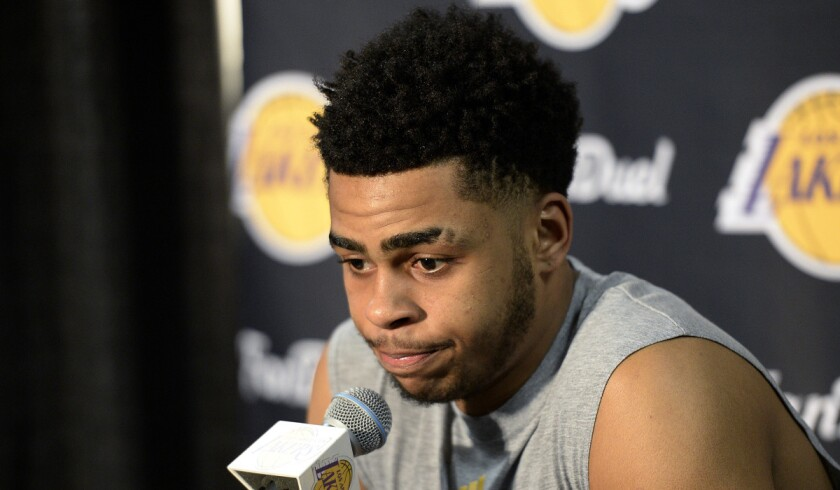 Lakers' D'Angelo Russell speaks during a news conference to discuss the controversy with teammate Nick Young before the start of the game against the Miami Heat at Staples Center on Wednesday.