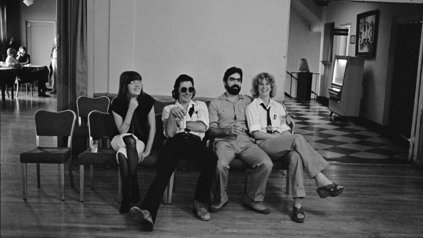 The core Slash team of, from left, Philomena Winstanley, Claude Bessy, Steve Samiof, and Melanie Nissen, at a benefit for the magazine in 1977.