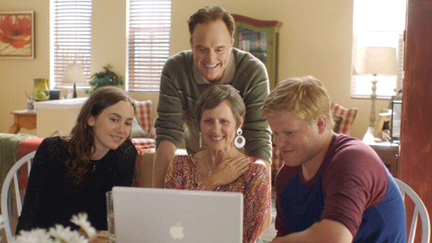 """Maude Apatow, from left, Bradley Whitford, Molly Shannon and Jesse Plemons in the movie """"Other People."""""""