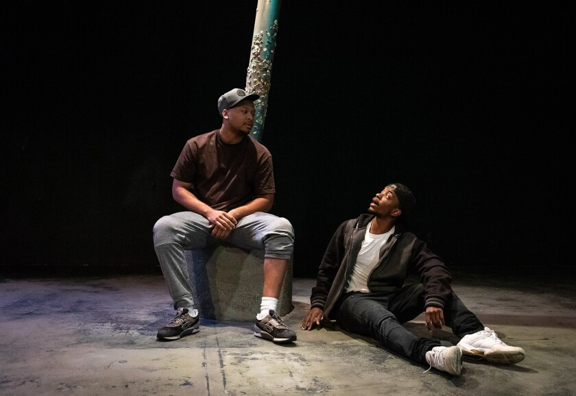 """Aaron Joseph, left, and Samuel Isaiah Hunter in a promotional photo for Echo Theater Company's """"Pass Over."""""""