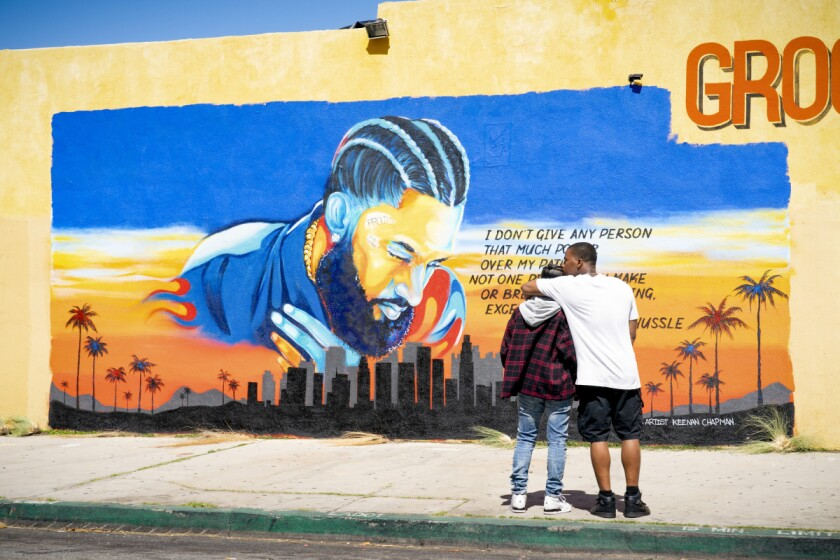 """A mural depicting the late rapper Nipsey Hussle in the Season 2 premiere of the CW's """"All American."""""""