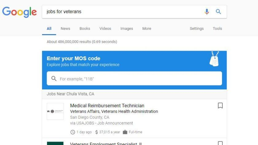 New Google search function aims to link military job codes