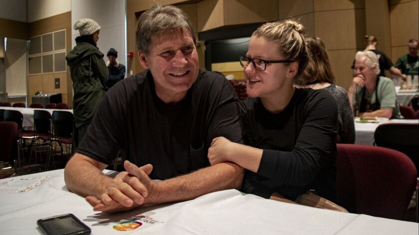Bruce Longacre and his daughter Anna, who lost their home in Paradise, Calif., finish a Thanksgiving dinner in Chico.