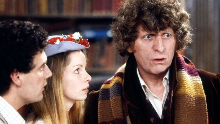 """Tom Baker, right, with Lalla Ward and Daniel Hill, stars in """"Doctor Who: The Lost Episode!"""" on BBC America."""