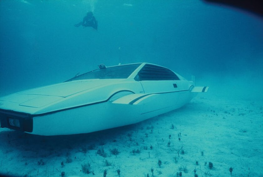 """This functioning Lotus Esprit was used in the underwater scenes of the 1977 Bond film """"The Spy Who Loved Me,"""" starring Roger Moore as 007. The car recently sold at auction for $973,500."""