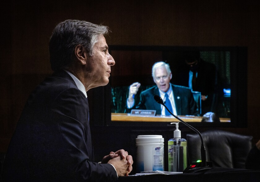 Sen. Ron Johnson, R-Wis., questions Secretary of State Antony Blinken during a Senate Foreign Relations Committee hearing, Tuesday, Sept. 14, 2021 on Capitol Hill in Washington. (Jabin Botsford/Pool via AP)