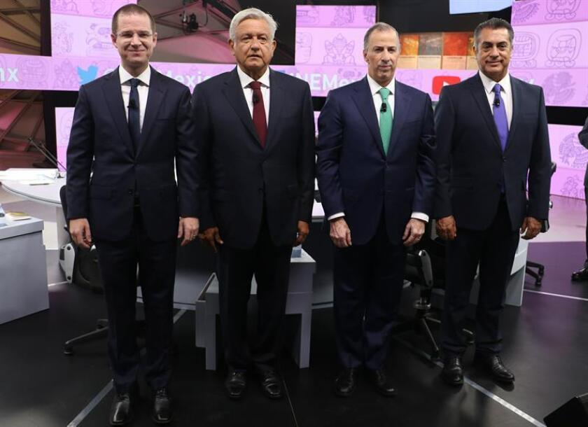 Los candidatos presidenciales debatieron hoy la validez o cancelación de la reforma educativa de México aprobada por el gobierno del presidente Enrique Peña Nieto. EFE/Prensa Campaña AMLO/SOLO USO EDITORIAL