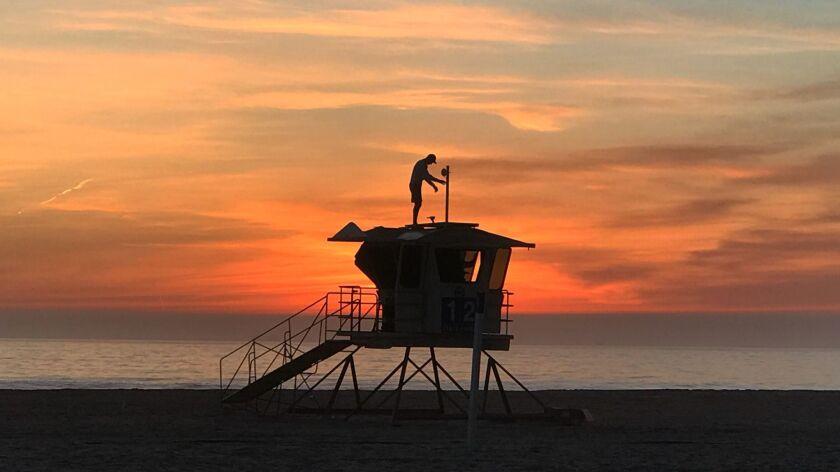 HUNTINGTON BEACH, CALIF. -- THURSDAY, JANUARY 18, 2018: With a scenic sunset view, Vitaliy Kostylov