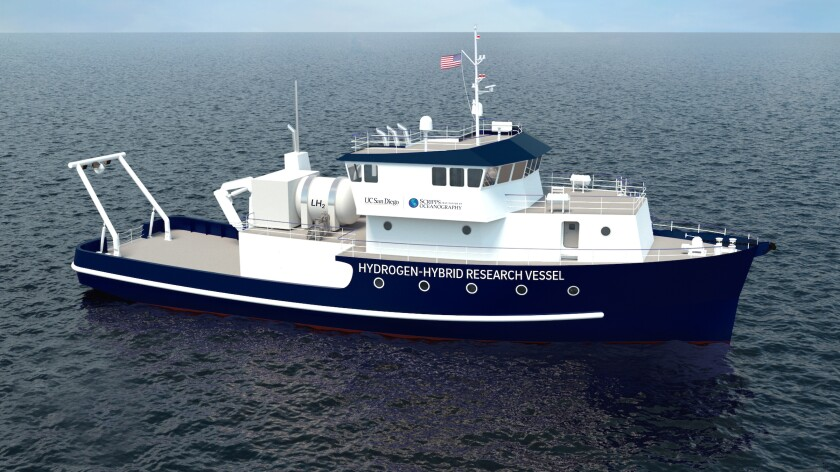 A rendering depicts the research vessel that Scripps Oceanography will design and build with $35 million in state funding.