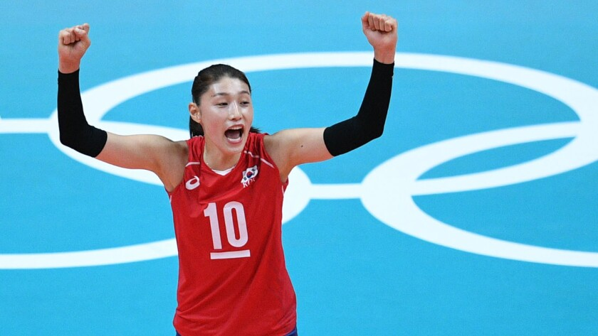 South Korea's Kim Yeon Koung celebrates after winning a point during the women's qualifying volleyball match.
